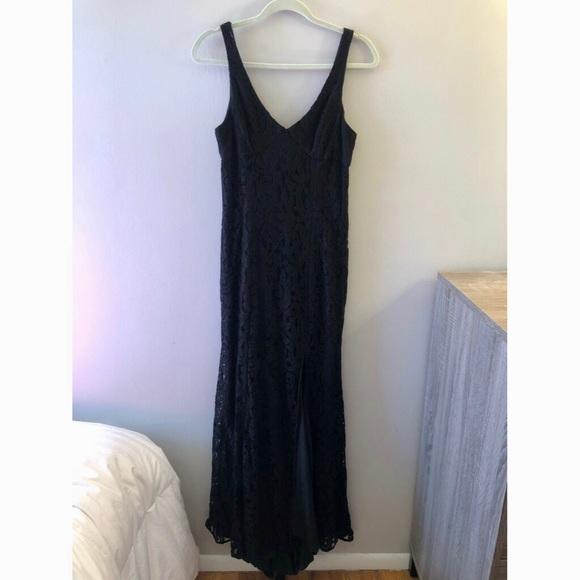 BCBGeneration Floor Length Black Lace Dress